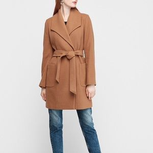 Express Long Belted Wool-Blend Wrap Front